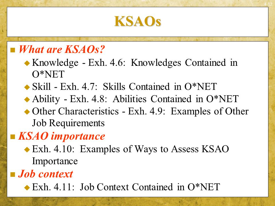 ksao or knowledge abilities skills and other characteristics essay What does ksao stand for with regard to preparation give one illustration for each missive in your account for the occupation of professor of.