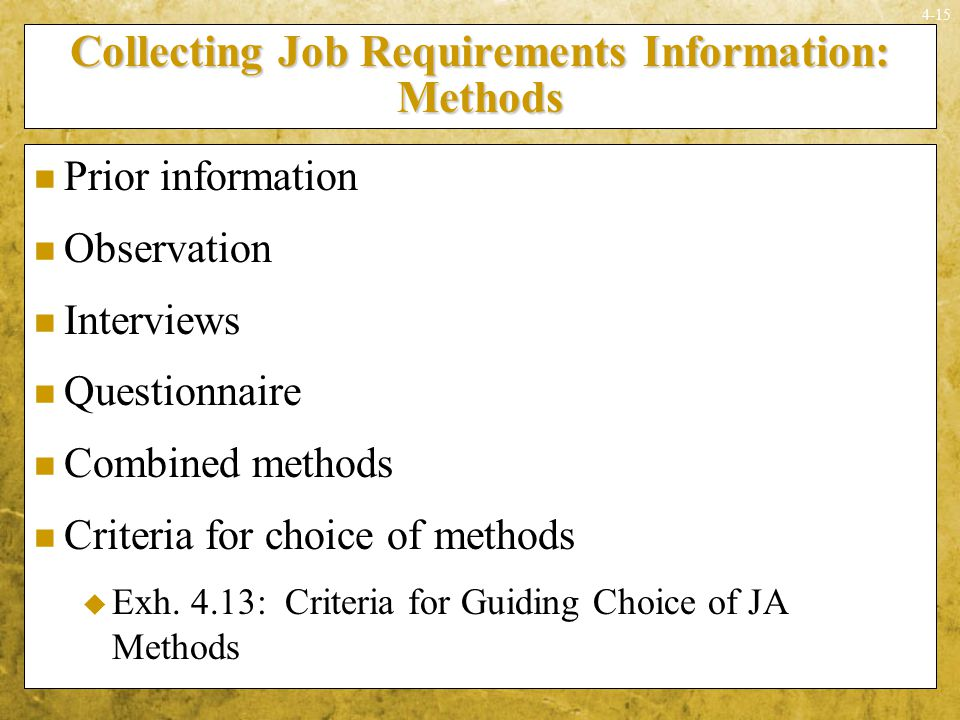Collecting Job Requirements Information: Methods