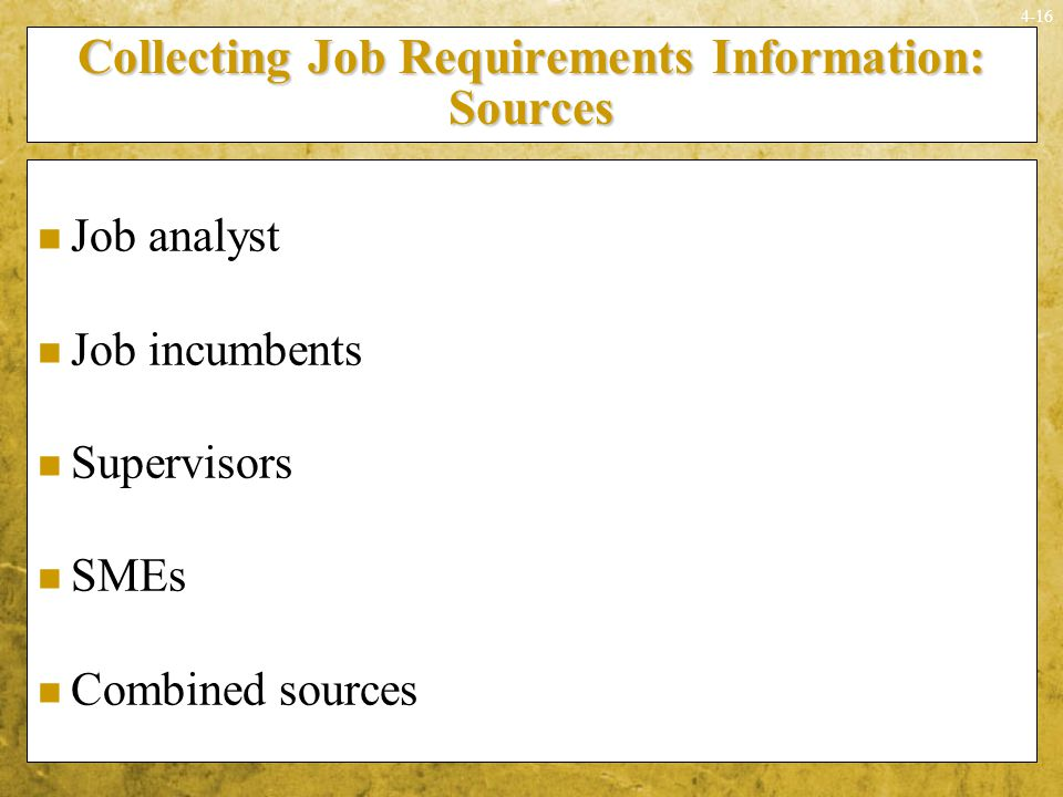 Collecting Job Requirements Information: Sources