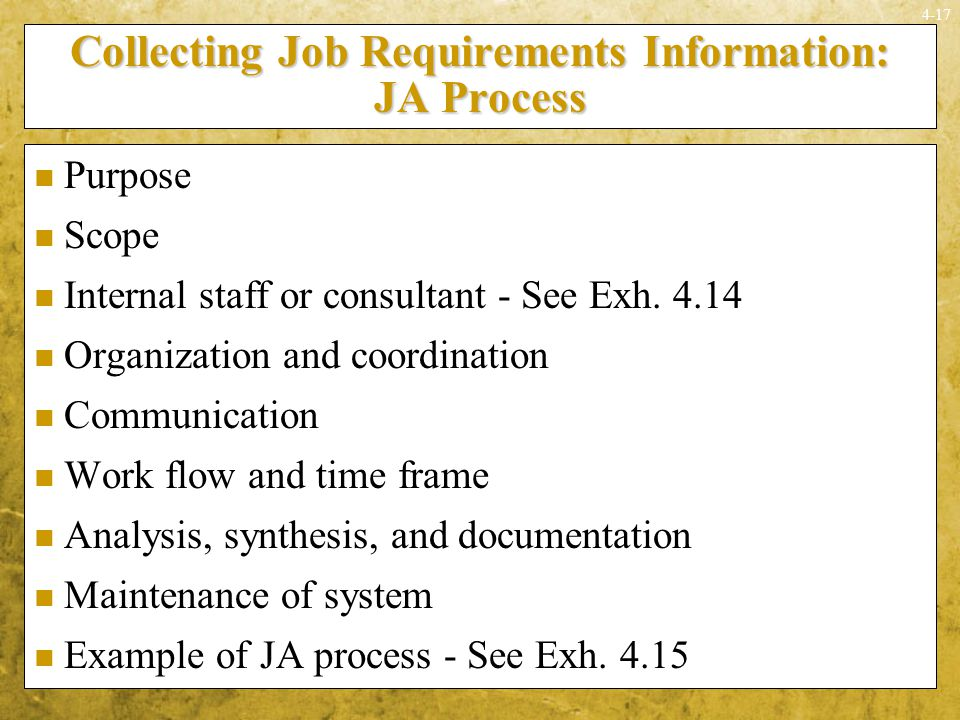 Collecting Job Requirements Information: JA Process