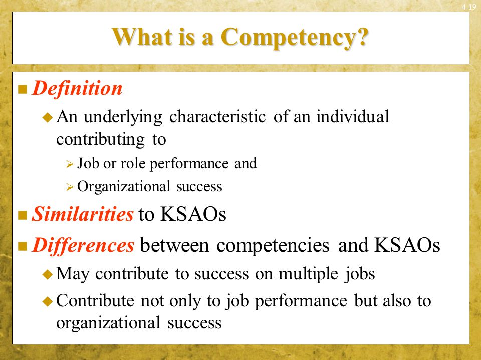 What is a Competency Definition Similarities to KSAOs