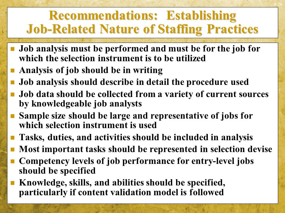 Recommendations: Establishing Job-Related Nature of Staffing Practices