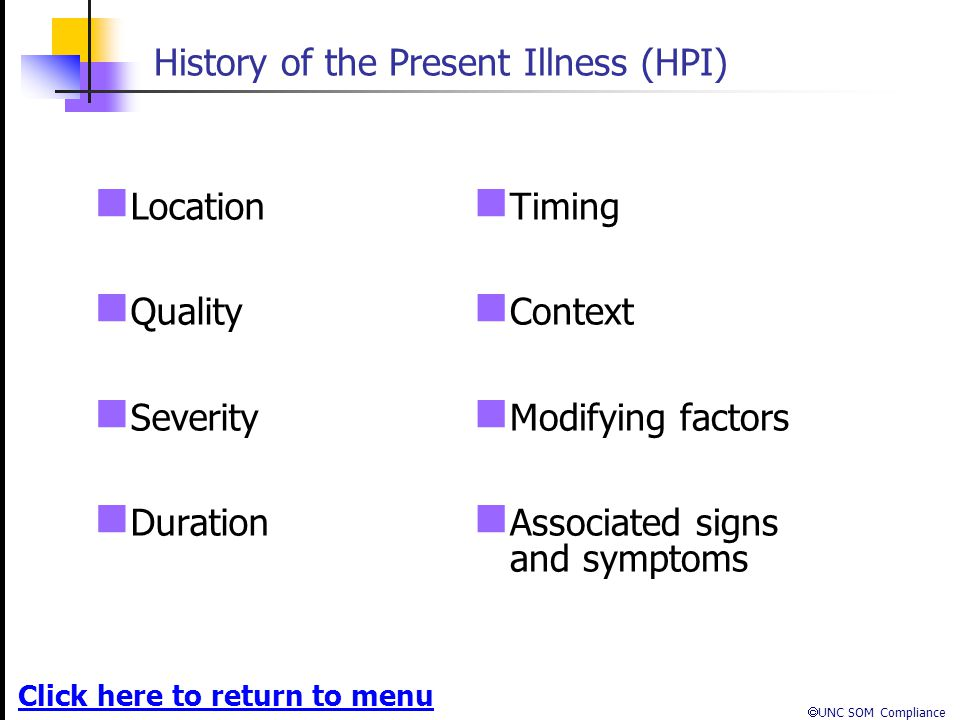 History of the Present Illness (HPI)