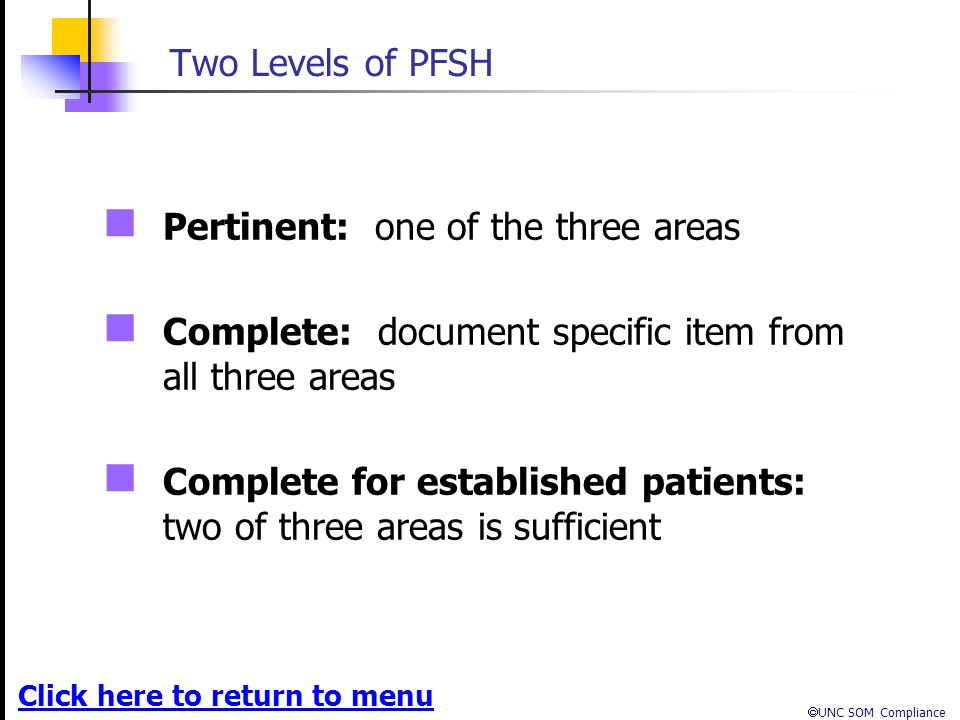 Two Levels of PFSH Pertinent: one of the three areas. Complete: document specific item from all three areas.