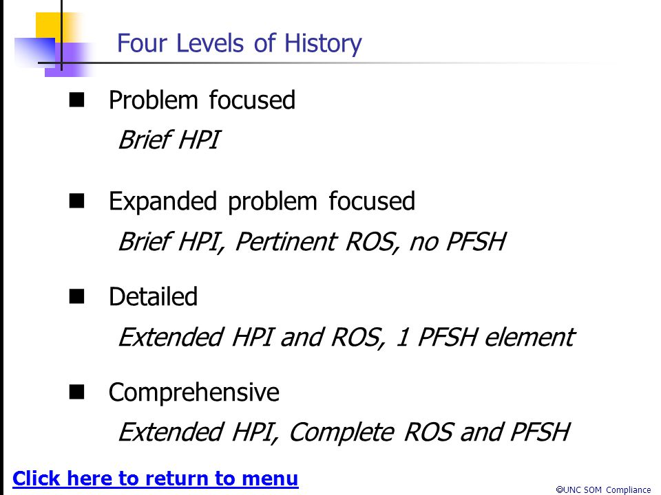 Four Levels of History Problem focused. Brief HPI. Expanded problem focused. Brief HPI, Pertinent ROS, no PFSH.