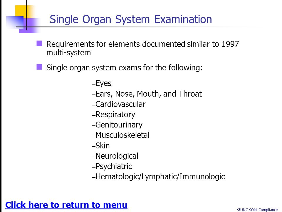Single Organ System Examination