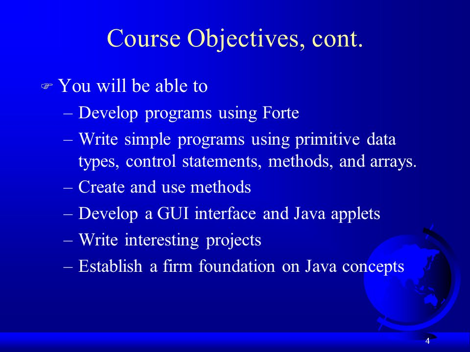 Course Objectives, cont.