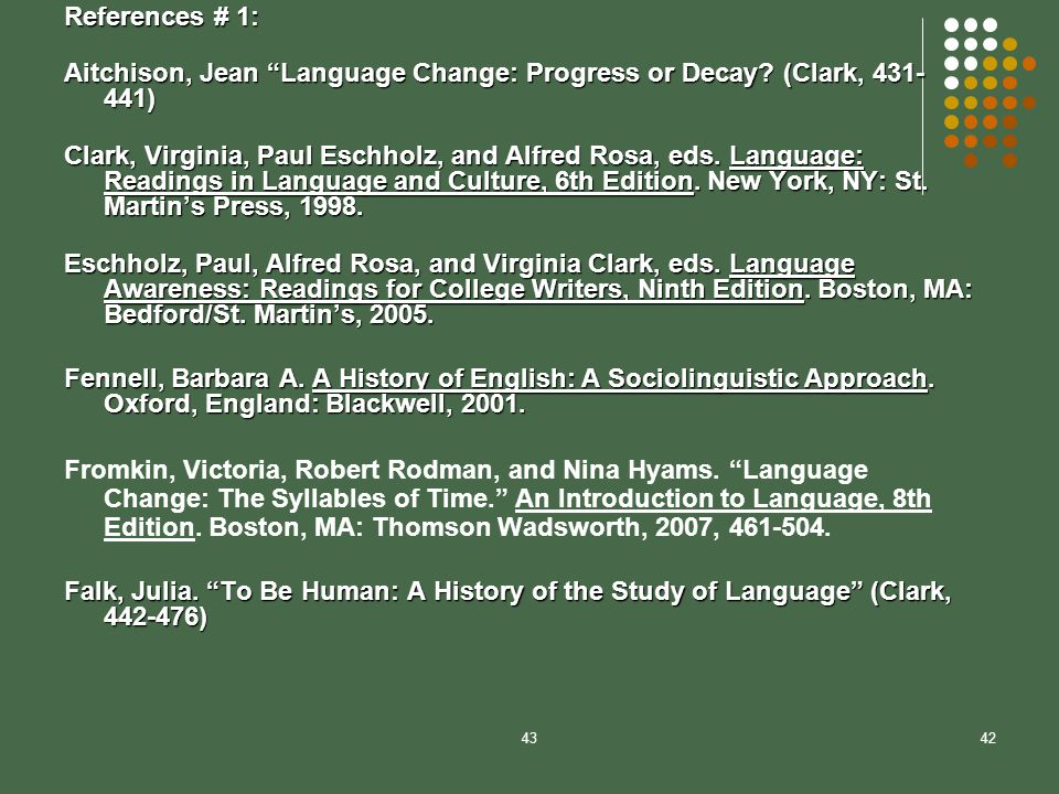 an introduction to the ever changing culture of english language Language change is variation over time in a language's phonological,  morphological, semantic  cultural environment: groups of speakers will reflect  new places, situations, and  as an example, when villain entered english it  meant 'peasant' or  and patton (2007) introduce a systematic approach to  language change.