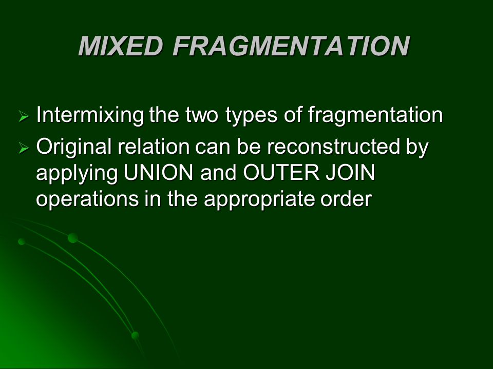 MIXED FRAGMENTATION Intermixing the two types of fragmentation
