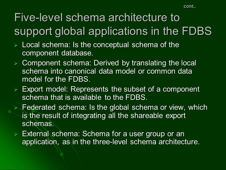 cont.. Five-level schema architecture to support global applications in the FDBS