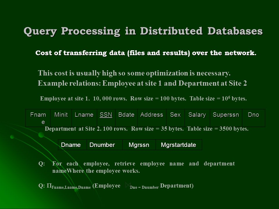 Query Processing in Distributed Databases