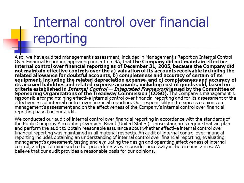 Internal management reporting