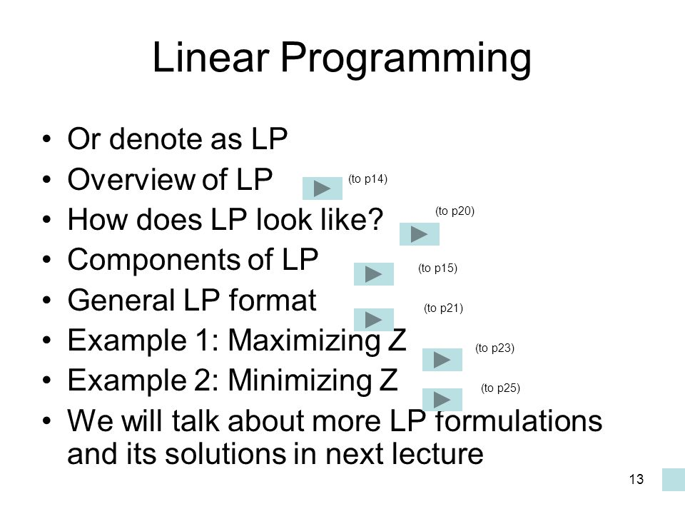 Linear Programming Or denote as LP Overview of LP