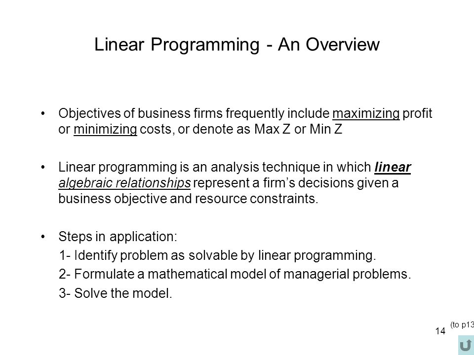 Linear Programming - An Overview