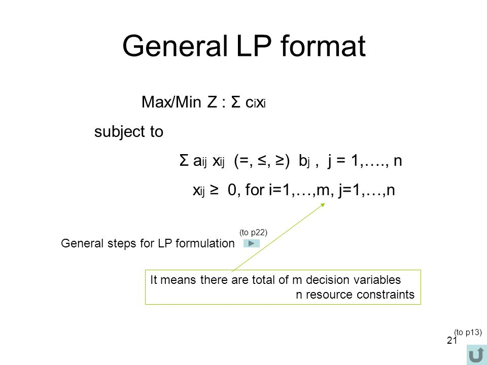 General LP format subject to xij ≥ 0, for i=1,…,m, j=1,…,n