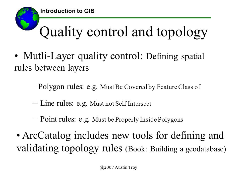 Quality control and topology