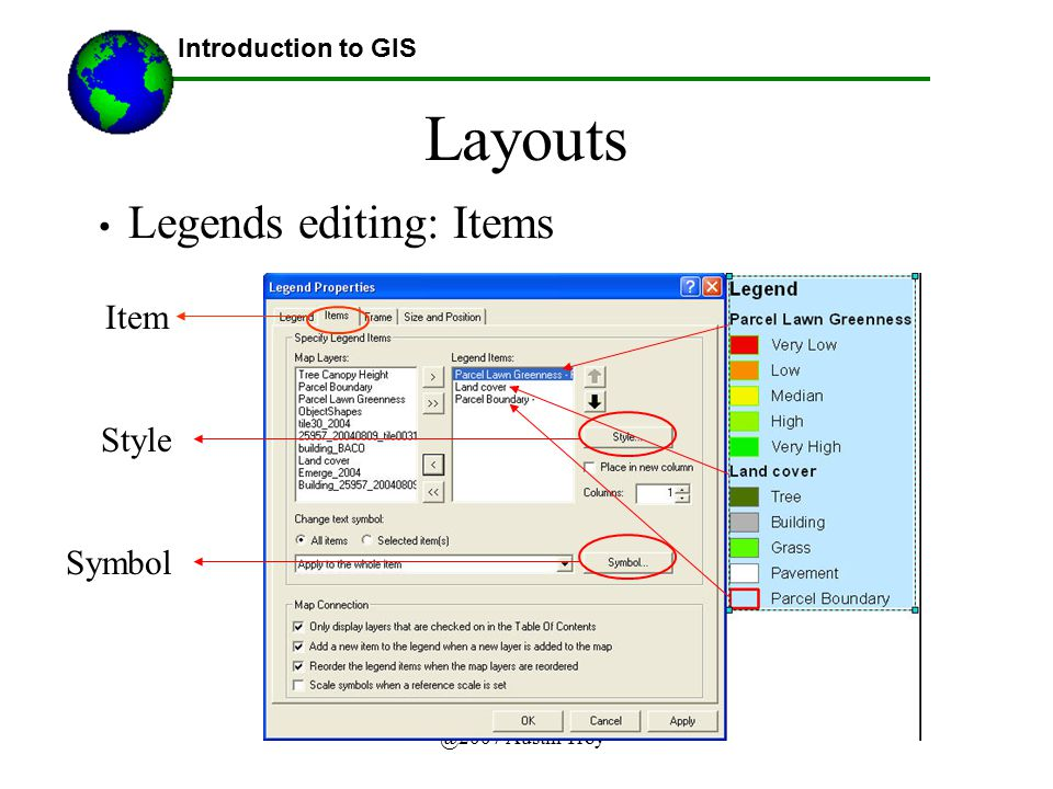 Layouts Legends editing: Items Item Style Symbol Introduction to GIS