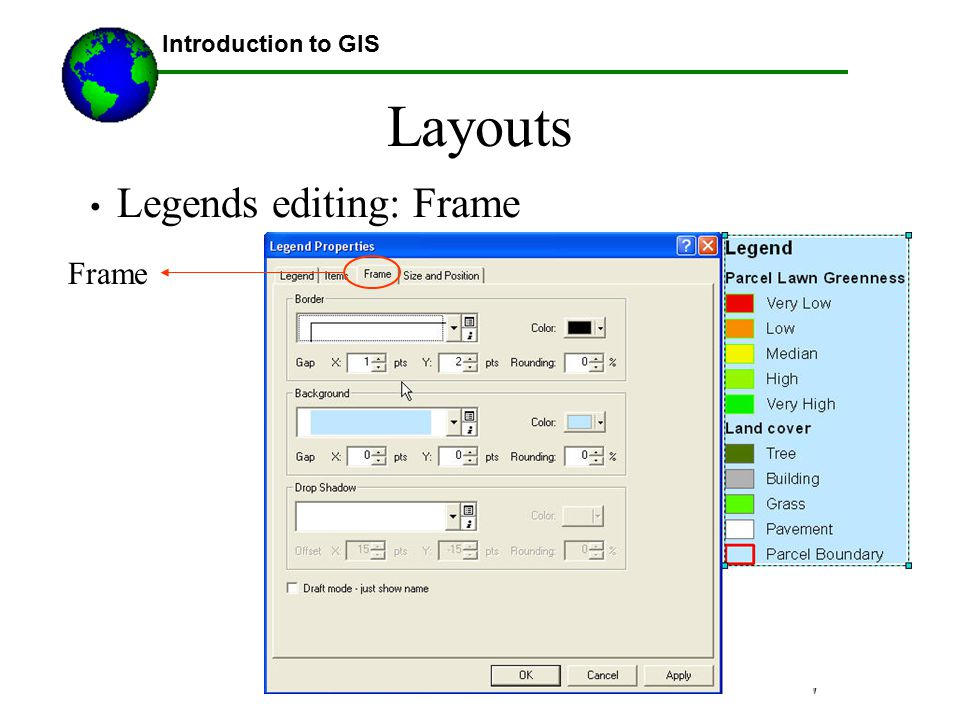Lecture 3b Introduction to GIS Layouts Legends editing: Frame Frame