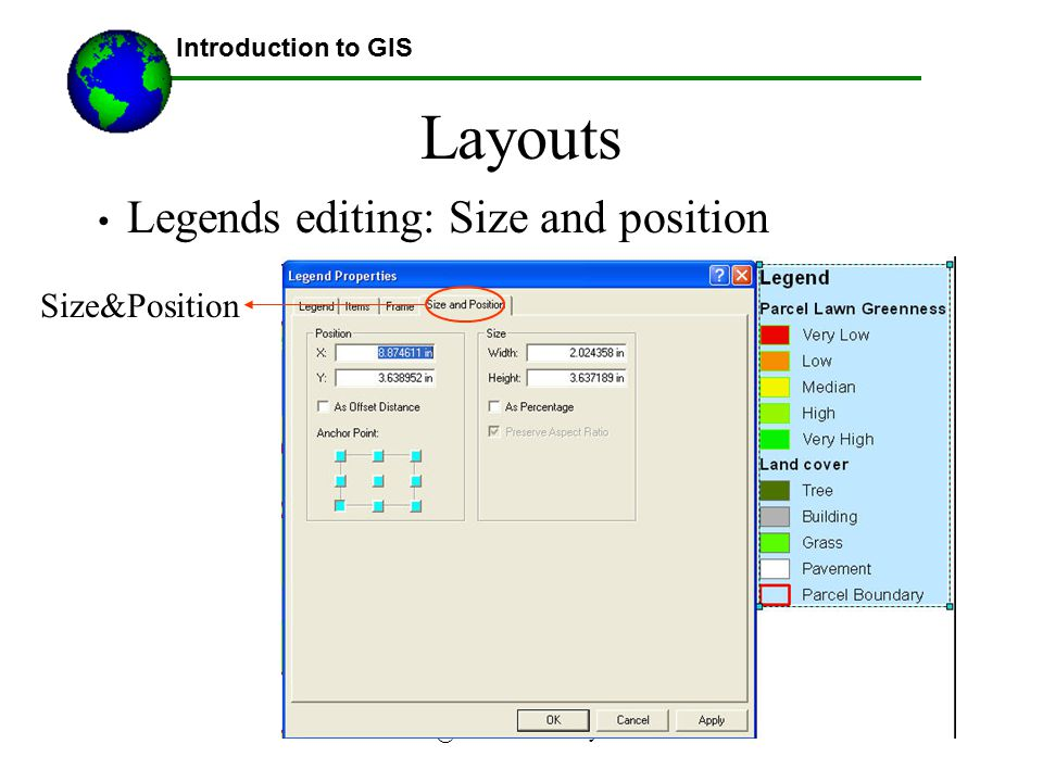Layouts Legends editing: Size and position Size&Position