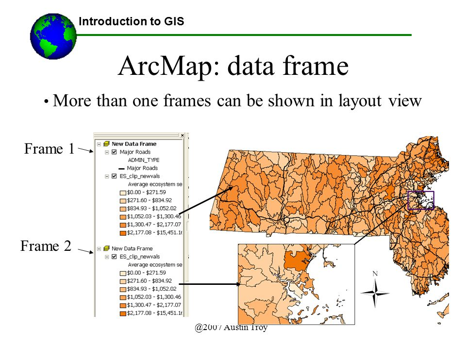 ArcMap: data frame More than one frames can be shown in layout view
