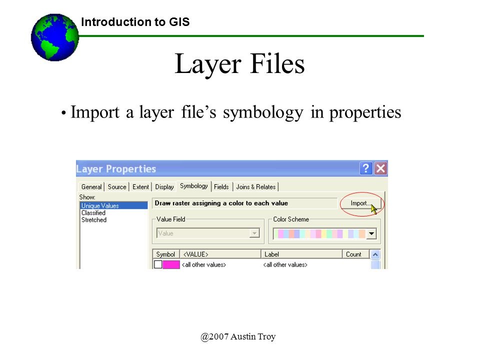Layer Files Import a layer file's symbology in properties