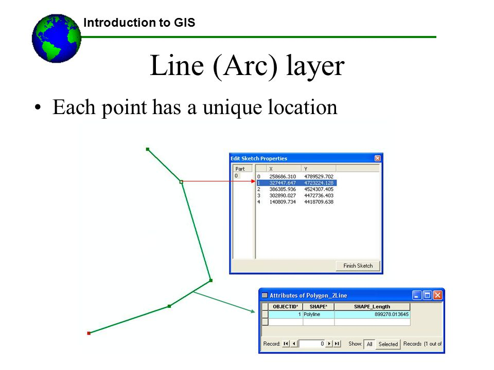 Introduction to GIS Line (Arc) layer Each point has a unique location