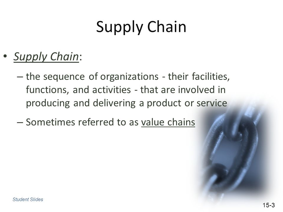 Supply Chain Supply Chain:
