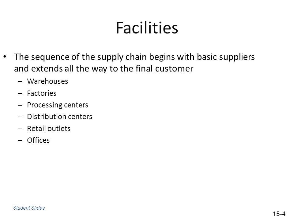 Facilities The sequence of the supply chain begins with basic suppliers and extends all the way to the final customer.