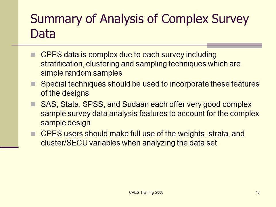 Analysis Of Complex Survey Data And Survival Analysis  Ppt Download