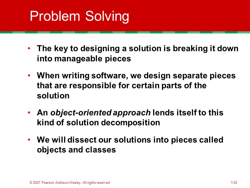 object oriented problem solving approach