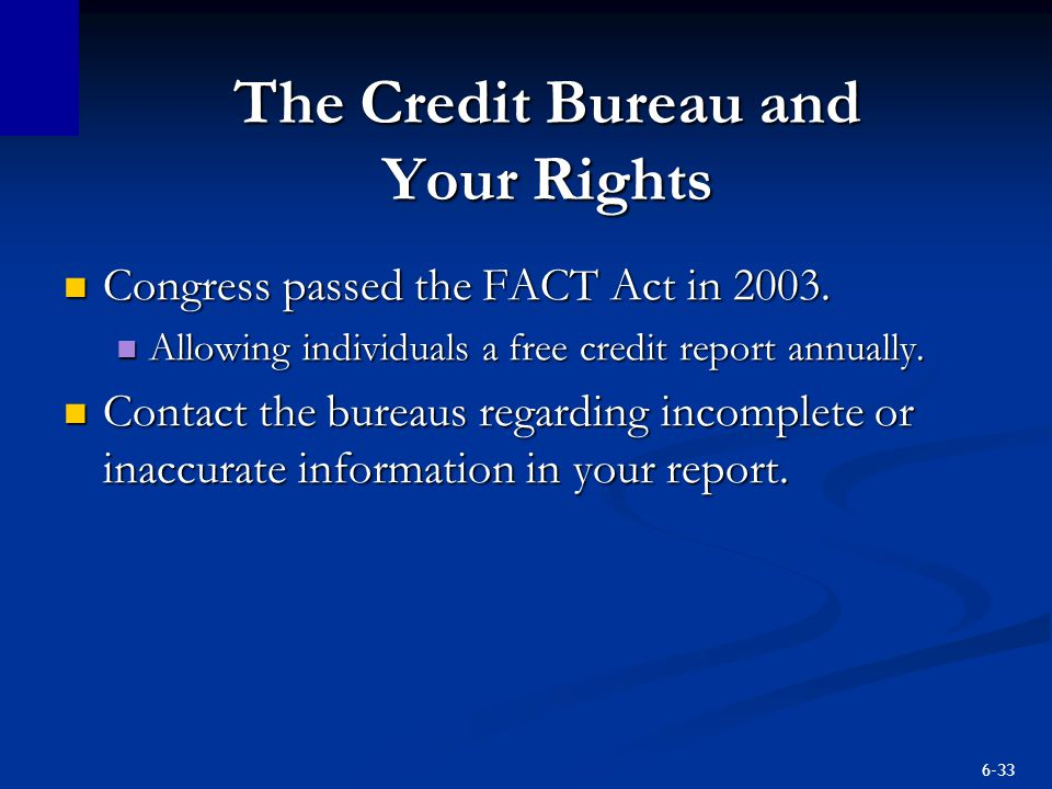 The Credit Bureau and Your Rights
