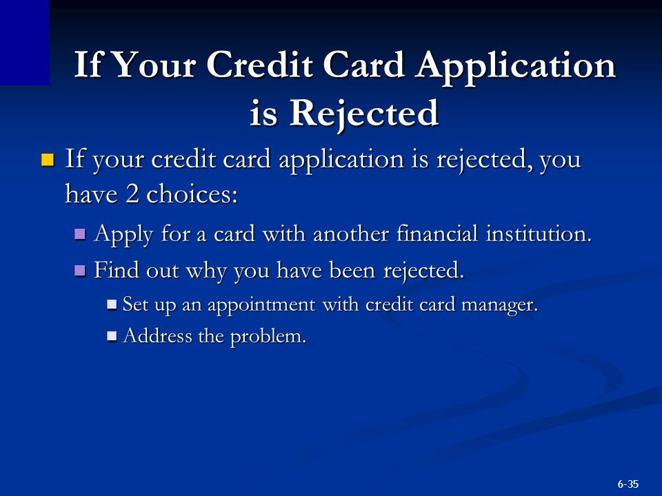 If Your Credit Card Application is Rejected