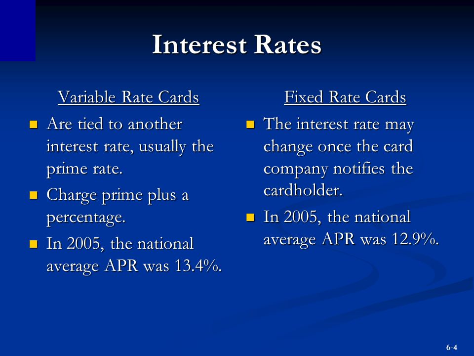 Interest Rates Variable Rate Cards