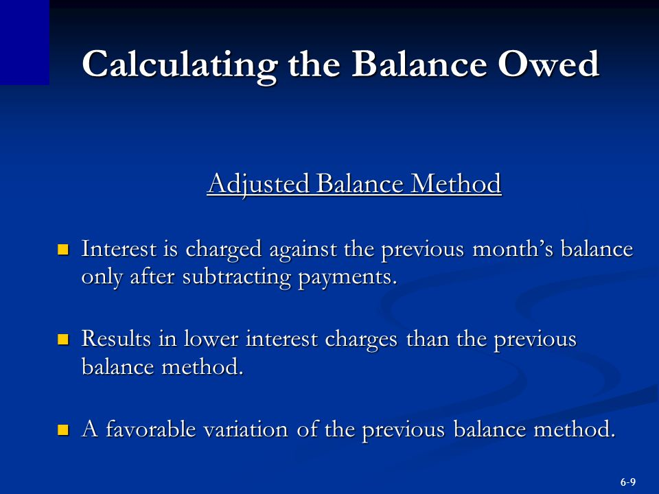 Calculating the Balance Owed