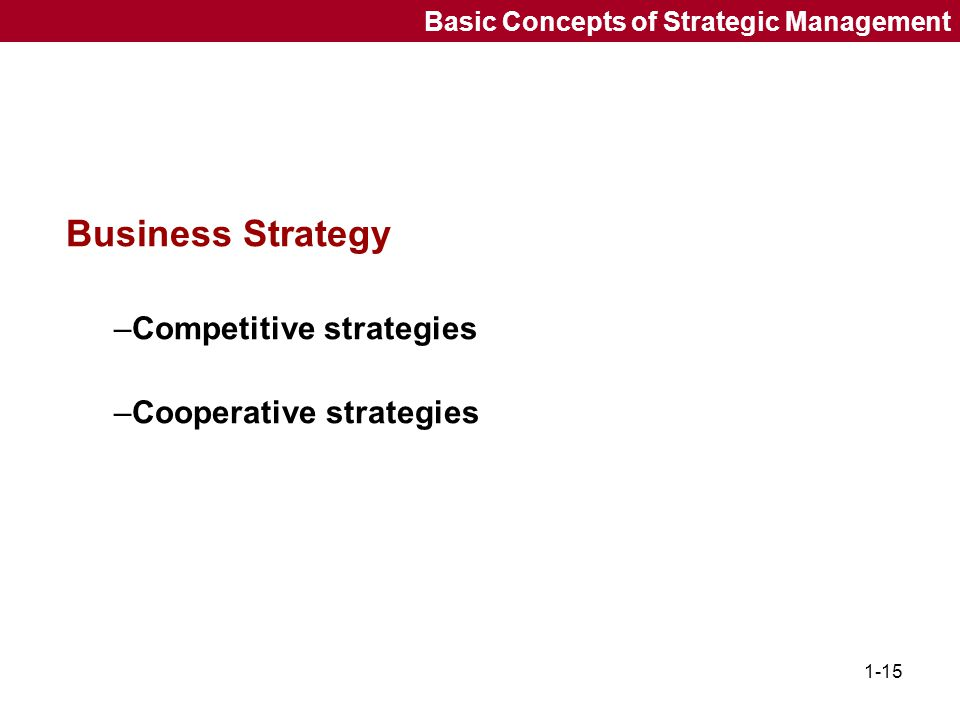 Business Strategy Competitive strategies Cooperative strategies