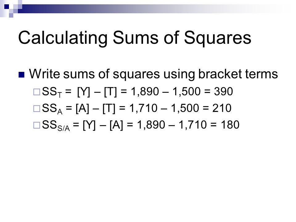 Calculating Sums of Squares