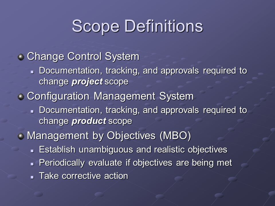 project scope definition The scope planning process is the very first thing you do to manage your scope project scope planning is concerned with the definition of all the work needed to.
