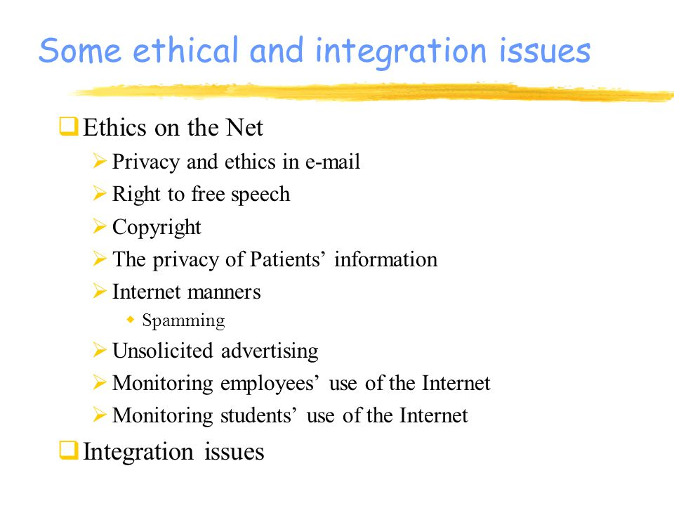 ethics of monitoring student network usage Technology and innovation has lead to ethical issues like data mining, invasion to privacy, data theft and workplace monitoring are common and critical.
