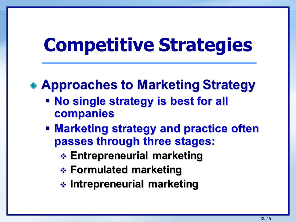 basic competitive strategies Get an answer for 'what are three of the basic pricing strategies, what are examples what factors must be considered when setting prices has price in today's marketplace become the most important component of the marketing mix what is the difference between sales activity and sales promotion.