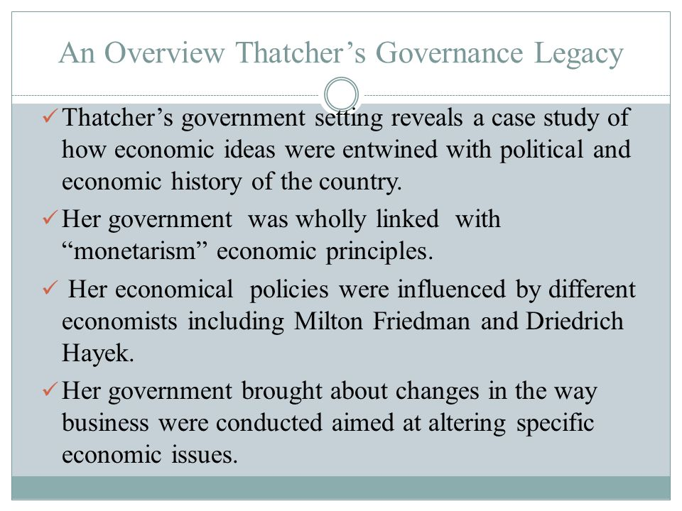 An Overview Thatcher's Governance Legacy