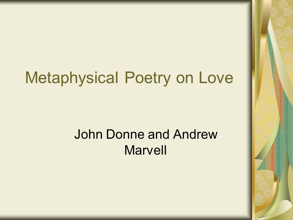 An examination of the metaphysical poetry of john donne