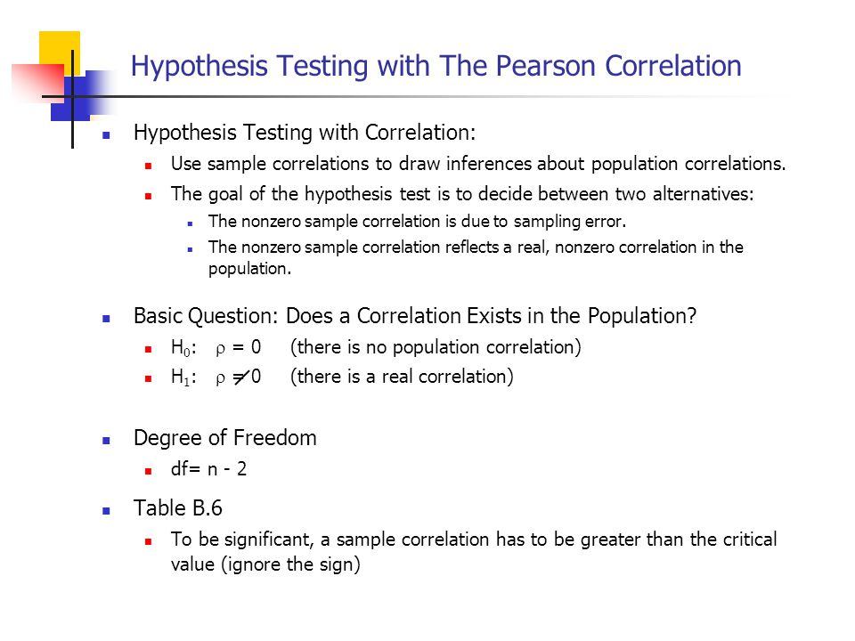 Hypothesis Testing with The Pearson Correlation