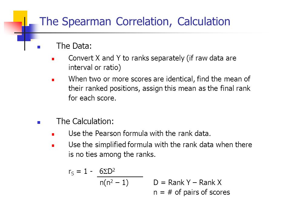 The Spearman Correlation, Calculation