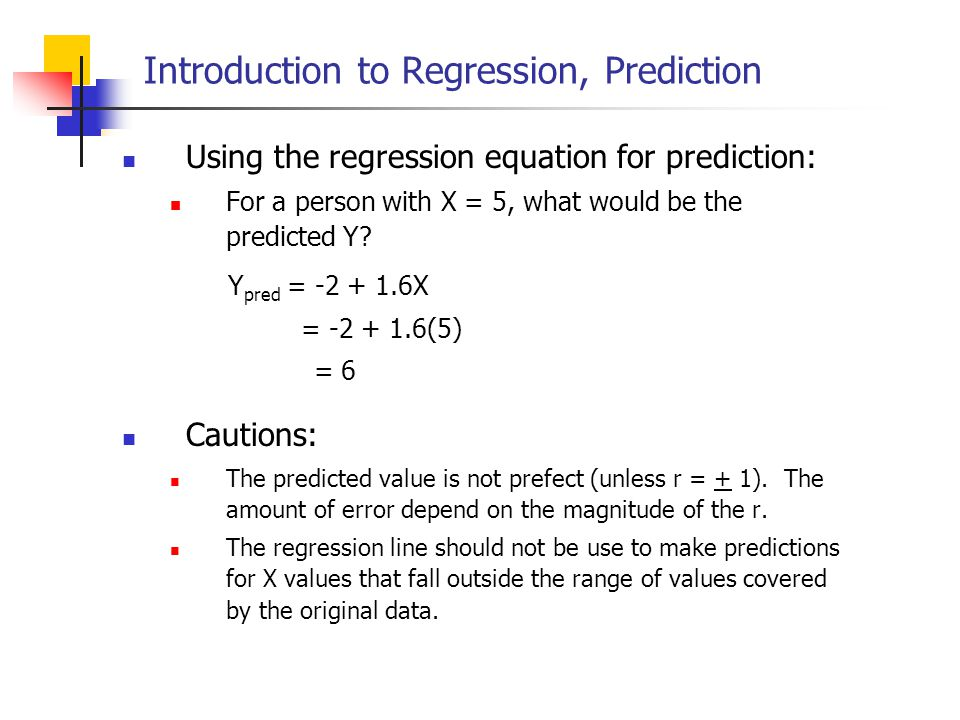 Introduction to Regression, Prediction