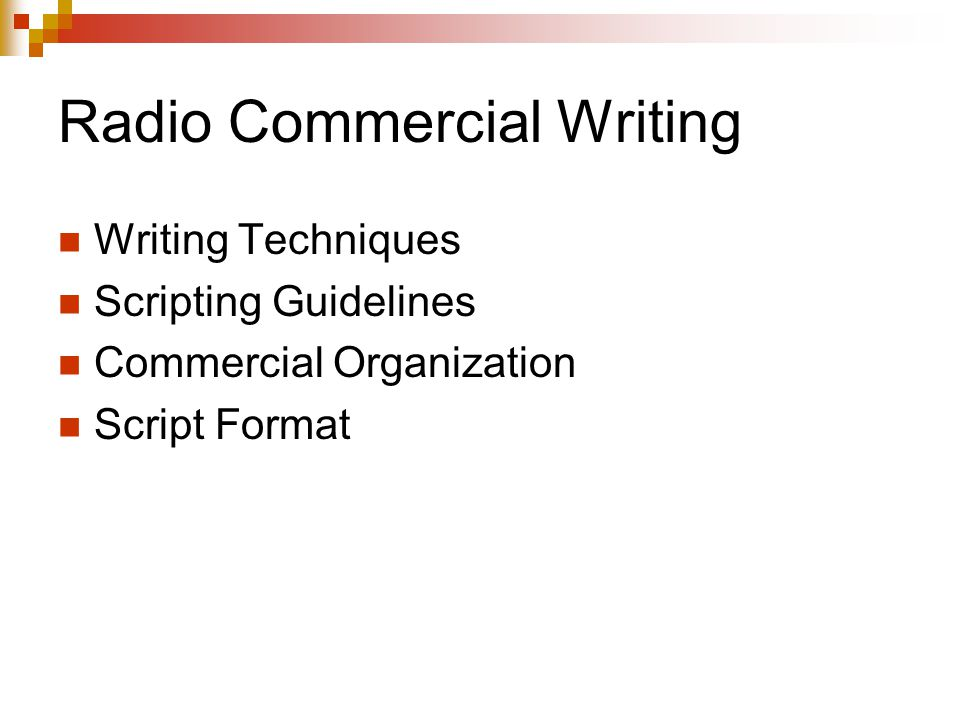 Radio Commercial Writing