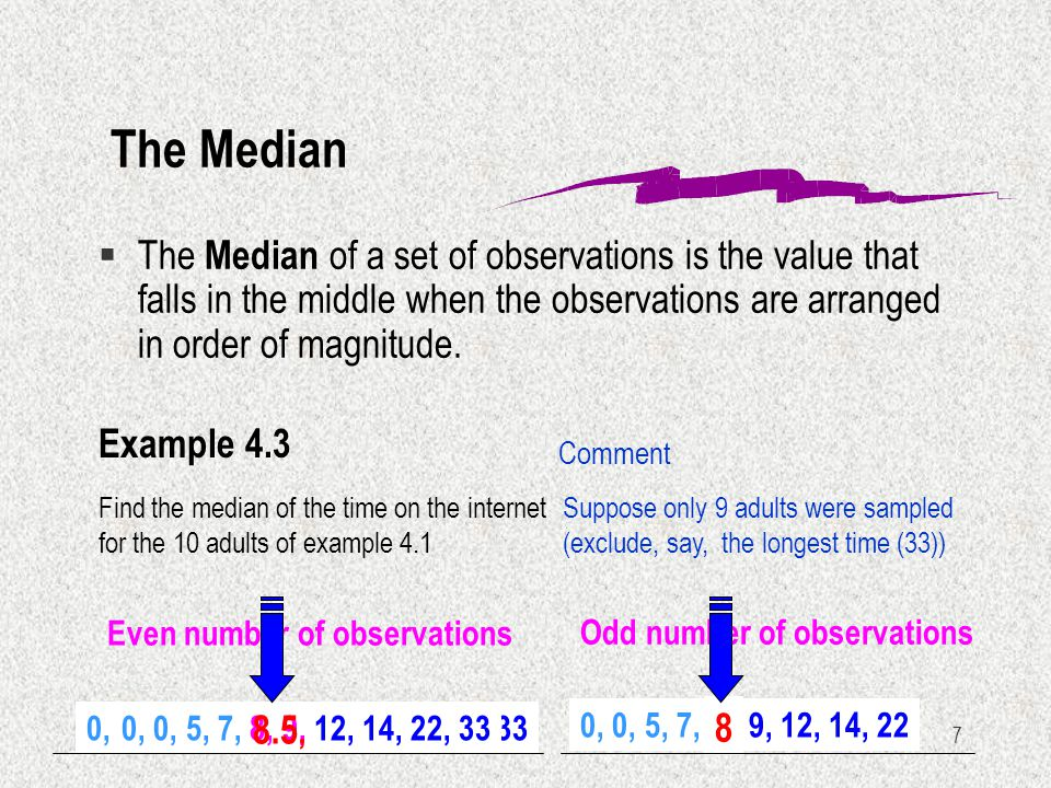 Numerical descriptive techniques ppt video online download the median the median of a set of observations is the value that falls in the ccuart Image collections