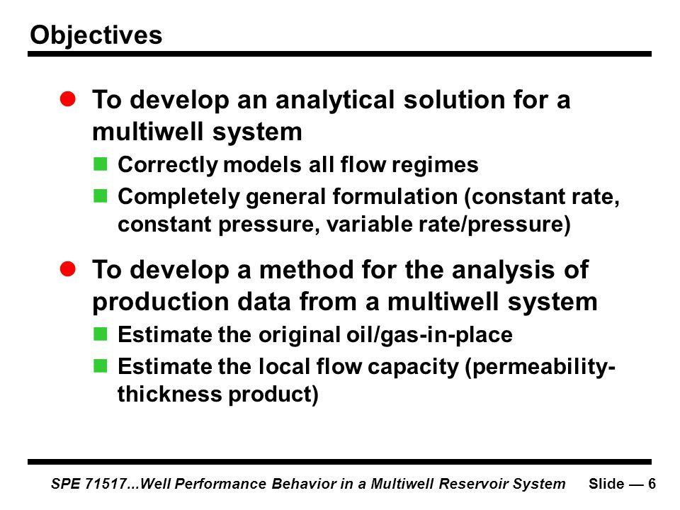  To develop an analytical solution for a multiwell system