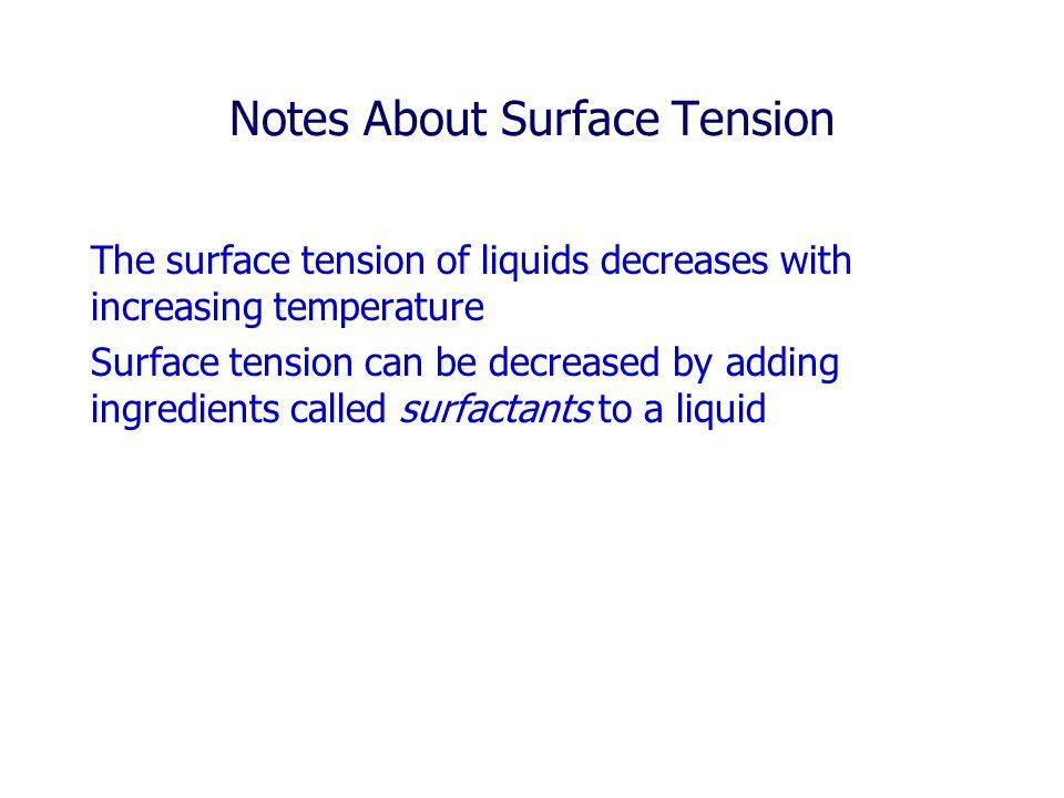 Notes About Surface Tension