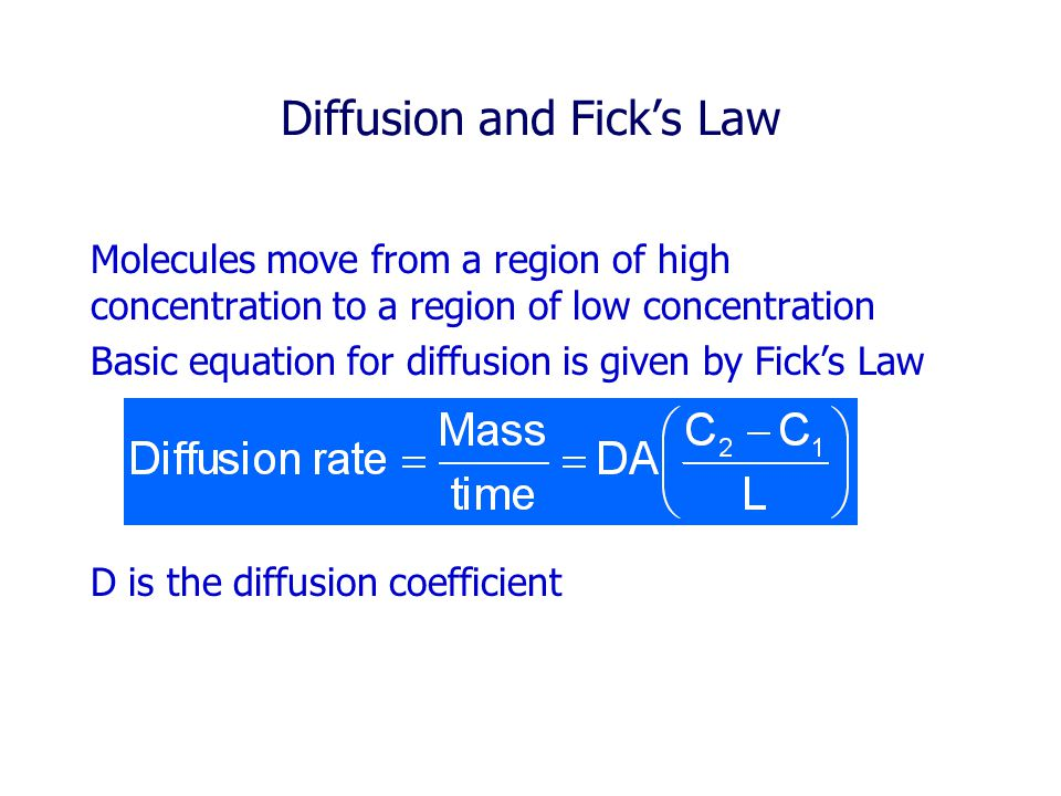Diffusion and Fick's Law