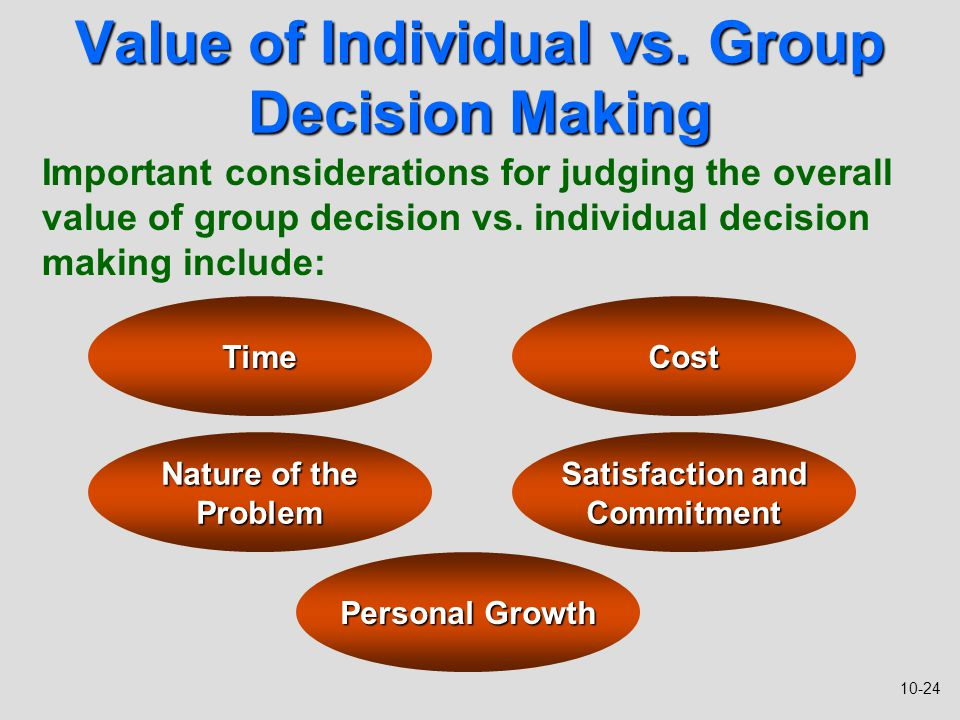 individual decision making Such logic applies for every economic decision: purchasing one good means that an individual has chosen to spend resources one way instead of another opportunity costs are an important consideration for economists and business people, but are faced by individuals even when they are not making classically economic decisions.